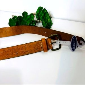 NWT! Old Navy Men's Brown Leather Tooled Belt